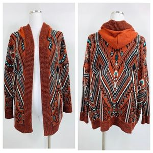Urban Outfitters Ecote Aztec Boho Hooded Cardigan